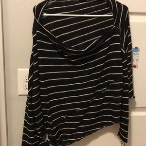 Free People Black&White Striped Side Tie Top